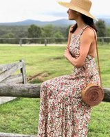 Wholesale pinafore dresses online - Sleeveless bohemian long dress women New Floral print pinafore Maxi Boho beach dress strap sexy backless summer holiday Chic Hippie dresses