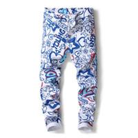 impresión digital jeans al por mayor-2018 nuevos hombres pantalones vaqueros 3D pantalones elásticos de impresión digital pantalones vaqueros de los hombres Slim White Stretch pintado pantalones de diseñador 5003 #