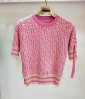 pajarita hembra al por mayor-nueva marca de suéter de las mujeres una manga corbata arco letra logotipo cuello redondo punto 1/2 manga jersey mujer punto tops