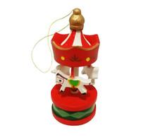 adorno de madera de la vendimia al por mayor-Vintage Wood Carousel Horse Árbol de Navidad colgante colgante adornos Romatic Wedding Birthday Party Decoration