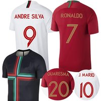 Wholesale Mario Football - 2018 RONALDO Portugal soccer jersey world cup Andre sliva away black football shirt MOUTINHO Camisa BERNARDO MARIO QUARESMA maillot de foot