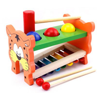 Wholesale knock wood toys resale online - Educational Kids Cute Wooden in Lovely Tiger Piano Knock Ball Peg Pounding Bench Hammer