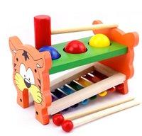 tocar el piano de madera al por mayor-Educativos para niños Lindo de madera 2 en 1 Precioso Tiger Piano Knock Ball Clavija del martillo del martillo
