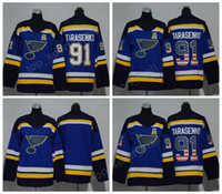 leeres hockey jersey usa großhandel-2018 AD 91 Vladimir Tarasenko Jugend Eishockey Trikots Frauen Männer Mann Kinder Frau St. Louis Blues Jersey Blank USA Flagge Farbe Alle Genäht