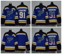 anúncios jersey venda por atacado-2018 AD 91 Vladimir Tarasenko Juventude Hóquei No Gelo Jerseys Mulheres Homens Homem Crianças Mulher St. Louis Blues Jersey Em Branco EUA Bandeira Cor Tudo Costurado