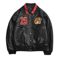 Wholesale Leather Hip Hop Winter Jackets - New Fashion Men's Winter Leather Jackets Brand embroidery Faux Jacket Coats Men Hip-hop Oversize PU Jacket For Men