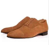 mocasines de vestir de cuero para hombres al por mayor-Lujo Red Bottom Men Dress Mocasines Zapatos de cuero de gamuza Greggo Orlato Zapatos Oxford planos Mujeres Vestido de fiesta de bodas para hombres Zapatos para caminar