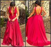 Wholesale Long Thin Prom Dresses - Red Evening Dresses Backless Thin Straps Formal Dress Sleeveless Floor Length Long A-line Party Prom Gowns