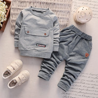 Wholesale spring suits for boys resale online - Children clothing for FALL long sleeve hooded jacket tops pants baby boys outfits new style boy kids toddler clothes set infant suit