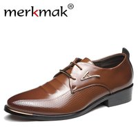 коричневые ботинки оптовых-Merkmak Men Dress Shoes Fashion Pointed Toe Lace Up Men's Business Casual Shoes Brown Black Leather Oxfords Flats Big Size 37-48