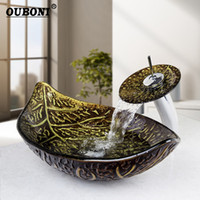 Wholesale bathroom tempered glass vessel - Tempered Glass Sink With Brass Faucet Bathroom Washbasin Sink & Polished Faucet Mixer Tap Great Gold leaf Vessel Washbasin