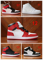 Wholesale rust top online - 2018 High OG Top Mens Basketball Shoes Wheat Gold Bred Toe Chicago Banned Royal Blue Fragment UNC Rebel Rust Pink Sneakers Sports Shoes