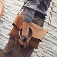 sacs à main d'embrayage achat en gros de-2 pièces pli pli sur sacs à main fourre-tout pour les femmes 2018 daim en cuir de luxe conception de marque dames à la mode ronde poignée bandoulière sac à main