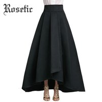 Wholesale gothic long skirts women - Rosetic Gothic Skirt Black Women Summer Waist A-Line Asymmetrical Long OL Skirts Street Bottom Elegant Goth Female Skirts Autumn