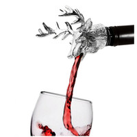 Wholesale deer stag - Wine Pourer and Stopper Wine Aerators Stainless Steel Deer Stag Head Wine Pourer Stags Head Bottle Stopper