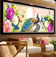 Wholesale art decor peacock - 5D DIY Diamond Painting Peacock Needlework Diamond Mosaic Diamond Embroidery swan Pattern Hobbies and Crafts Home Decor Gifts
