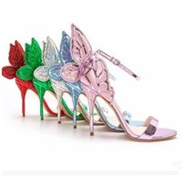 Wholesale Sliver High Heels - sophia webster gree red gold sliver purple butterfly female gladiator sandals high heeled wedding shoes pumps winged party lady sandals 2018