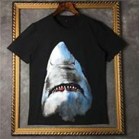 Wholesale shirt 3d shark - 2017 Luxury brand tag clothing men short sleeve 3D animal shark print funny t shirt cotton tee tops women Camisa Masculina Designer t shirt
