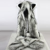 Wholesale Animal Scarf Hat Mittens - Women Fashion Wolf Ears Paws Faux Fur 3 in 1 women's Hat Scarf Mittens Winter Warm Cap Wolf Hat