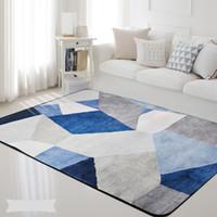 tapis gris achat en gros de-Géométrique Nordic Blue Grey Imprimé Rectangle Carpet Tapis Salon Chambre Tapete Non-Slip Enfants Kids Soft Play Tapis Couverture
