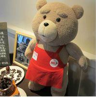 teddy-puppe große größe großhandel-Big size Teddybär Ted 2 Plüschtiere In Schürze 45 CM Weiche Kuscheltiere Ted Bär Plüsch Puppen Für Baby Kinder Weihnachtsgeschenke