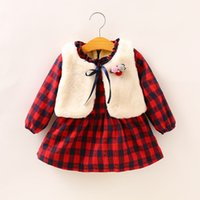 Wholesale western style cotton dresses - Girls Plaid Ruffles Sweet Dress with Fur Vest 2pcs Sets Autumn Winter Western Fashion Clothes Cute Baby Dress B11