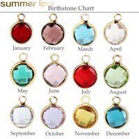 doğum günü kolyeleri toptan satış-12 adet Renkli Kristal Birthstone Charms Kolye Bilezik Takı Yapımı için Yüzen El Sanatları Boncuk Charm DIY Aksesuarları