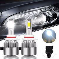 ingrosso lampadine super luminose-2Pcs Auto-Styling HIR2 Super Bright COB Led Bulb 72W 7600Lm Car Led Headlight 9012 12V Moto Fendinebbia DRL Automobiles