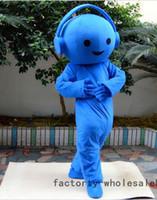traje de mascote para a música venda por atacado-Adulto Publicidade Azul Música Headset Mascot Costume Fancy Dress Halloween profissional Do Partido Do Traje Da Mascote handmade Dos Desenhos Animados do Vestido Extravagante