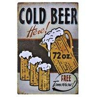 бесплатные барные вывески оптовых-Холодное Пиво Здесь Бесплатно Завтра Ретро Металлический Знак Урожай Craft Олово Вход Ретро Живопись Металла Плакат Бар Паб Wall Art