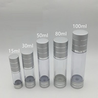 Wholesale packaging 15ml - 15ml 30ml 50ml 80ml 100ml silver Airless Bottle Cosmetic Package Vacuum Pump Lotion Bottle Travel Pump Case F20171963