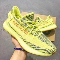 Wholesale Raw Yellow - Kanye West 350 Boost V2 B37572 SEMI FROZEN YELLOW F15 RAW STEEL S18 RED B37571 BLUE TINT GREY THREE HI-RES RED Running shoes sz 36-48