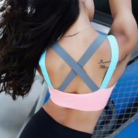 sutyen iç çamaşırı toptan satış-Push Up Kadınlar Spor Sutyeni Üst Spor Yoga Için Çapraz Kayış Bayan Gym Koşu Yastıklı Tank Atletik Yelek Iç Çamaşırı Toptan