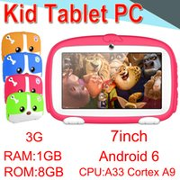 Wholesale 2018 Kids Brand Tablet PC inch Quad Core Children Tablet Android Allwinner A33 Player GB WIFI Speaker Protective Cover EXPB