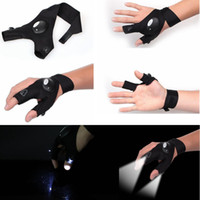 Wholesale rescue strap - Fingerless Glove LED Flashlight Torch Outdoor Fishing Camping Hiking Magic Strap Survival Rescue Tool Light Left Right Hand GGA486 100pcs