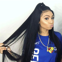 Wholesale synthetic hair online - Natural Black b Long Silky Straight Full Lace Wigs with Baby Hair Heat Resistant Glueless Synthetic Lace Front Wigs for Black Women