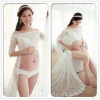 bebek showları elbiseleri toptan satış-Fantezi Annelik Fotoğrafçılık Sahne Için Beyaz Dantel Kıyafeti Oryantal Elbise Hamile Kadınlar Stüdyo Giyim Fotoğraf Çekimi Bebek Duş Hediye