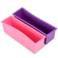 Wholesale loaf bakeware resale online - Handmade Soap Silicone Rectangle Mould Pastry Bread Bakeware L with Wood Box Loaf Candle Soap Moulds for Handmade Soaps NB