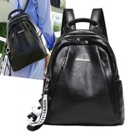 Wholesale Leather Backpack Camping - 2018 Black Leather Backpack Zippe Backpacks School Bags Travel Softback Bag Zippe Female Leather Backpack Free DHL G148L