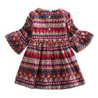vêtements de style bohème pour les enfants achat en gros de-Bébés filles robe de princesse Bohème Enfants Impression Floral Robes 2018 Nouvel Automne Enfants Vêtements C3562