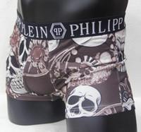 Wholesale big boxer - 6 pecs lot Big flower Top new Vogue Men Underwear Boxers Shorts Luxury Brand Skull Design Male Waistband Sexy Male Underpant 6 pecs lot