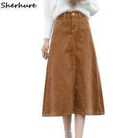 плюс длинные зимние юбки оптовых-2017 High Waist Women Autumn Winter Skirt Corduroy Women Long Khaki Skirt Plus Size 5XL 7XL Maxi Femme Faldas Saias