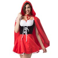 Wholesale red riding hood woman costume for sale - Women Sexy Lace Dress Large Size Halloween Maid Little Red Riding Hood Cosplay Princess Costume Newest Hot Sale