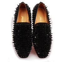 Wholesale beaded flat dress shoes - 2018 Black Spikes Rhinestones Glitter Men Loafers Smoking Slipper Casual Shoes Wedding groom Dress Men's Flats Genuine Leather