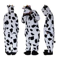 vaca halloween trajes adulto venda por atacado-Adult Onesie Pijamas Costumes Natal Dia das Bruxas Animal Onsie Cow