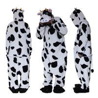 inek kostümü toptan satış-Yetişkin Onesie Pijama Kostümleri Noel Cadılar Bayramı Hayvan Onsie İnek