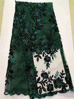 Wholesale Ladies French Dresses - JYY1010 French African lace fabric high quality embroidered Nigerian net lace with sequins 5 yards for lady dress