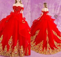 Wholesale Girls Dress Size 14 Short - 2018 Red Off Shoulder Quinceanera Dresses Lace Appliques Crystal Ball Gown Long Sweet 16 Girls Party Prom Gowns Plus Size Customized