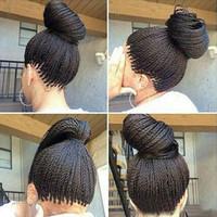 siyah kadınlar için african amerikalı peruklar toptan satış-Mikro Örgülü Dantel Ön Peruk Sentetik Dantel Ön Peruk Sıcak Satış Peruk Siyah Kadınlar Afrika Amerikan Örgülü Havana Büküm Dantel Peruk Ücretsiz Kargo