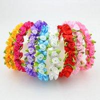 Wholesale Flowers Alice - 8Pcs Girl Flower Headband Wedding Festival Alice Head Bands Rose Hairbands Headwear Decoration Hair Accessories Drop Shipping